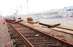 Decay of LA - Rusty Rails / End of the Line for Aerospace Industry / Crenshaw Corridor is Under Way (ramalama_22) Tags: california railroad light urban green abandoned industry yard ties underground subway death la harbor wooden los high airport glamour highway rust closed factory boulevard commerce technology tech metro angeles space aircraft aviation jet tracks corridor rusty rail center demolition surface system line corporation transportation transit freeway segment missile interstate rockwell lax elevated mass airforce mothballed alameda vernon decline organization base freight 747 hughes xerox jumbo aerospace grumman subdivision defunct trw crenshaw relocated northrop i105 downsized