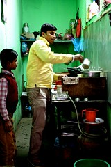 Local tea shop, Kathmandu, Nepal (navgill) Tags: asia teastand man green vibrant colour tea chai nepal kathmandu