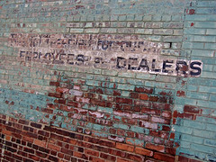 Employees and Dealers, Peoria, IL (Robby Virus) Tags: peoria illinois ghost sign signage faded employees dealers brick wall