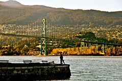 Lions gate bridge (kristinkarmella) Tags: bridge vancouver water sillouette mountain vancity