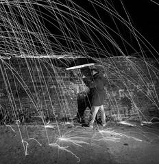 Its raining wire wool... (seankirkhousephotography) Tags: rain black white wire wool photography low light night portrait wall wales kidwelly