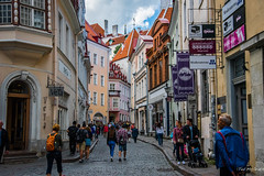 2016 - Baltic Cruise - Tallin Estonia - Typical City Street (Ted's photos - For Me & You) Tags: 2016 balticcruise tedmcgrath tedsphotos tallinn tallinnestonia estonia streetscene backpack cobblestones curb arches cropped vignetting unesco unescoworldheritagesite vetatallinn people peopleandpaths