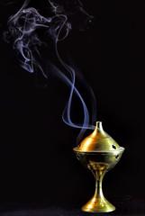 Life is but a Vapor (clarkcg photography) Tags: smoke vapor cloud fog mist incense burn smell scent brass dark light holder