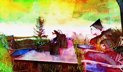 picnic (Bamboo Barnes - Artist.Com) Tags: secondlife virtualart digitalart photo painting vivid surreal yellow green red blue pink doll face metabody table picnic tree bottle chair bamboobarnes avatar