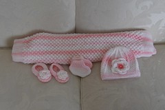 blanket hat and booties (Thong Bartlett) Tags: baby shower knit crochet blanket booties