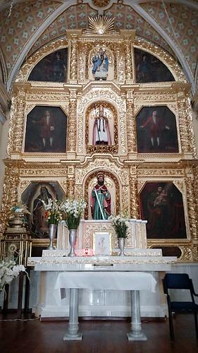 Retablo del Altar Mayor, Templo de San Pedro y San Pablo Apóstoles, San Pedro Benito Juárez, Atlixco, Pue.