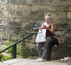 Feel Good (simonannable) Tags: fags cigarette smoking girl blondegirl girls blondes nikond750 nottingham nottinghamcastle nottinghamshire nottinghamstreetphotography candidstreetshot candid unposed unposedinpublic uk shitbritain england break rest feelgood resting texting modern britain young strappy top skimpy warm hot unhealthy snapshot street shot bare arms carrierbag historic wall castle leaning legs habit bad enjoying smoke fagbreak woman female hairstyle bun cigarettesmoke smokinginpublic classy bird faghag fugly trash trashy filthy tart slob chubster pig