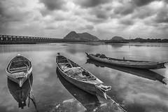 River Krishna (vijaydanielk) Tags: vijayawada monochrome andhra andhrapradesh krishna river clouds prakasam barrage