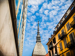 Look at the sky (Turin - Northern Italy) (Fabio Insalaco) Tags: look sky cielo nuvole clouds mole antonelliana torino turin italia italy europa europe canon fabio insalaco color photoshop lightroom prospettiva ritocco firma watermark pecorelle muro finestre windows blu blue orange arancione arancio giallo yellow