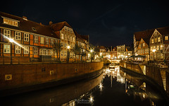 stade by night (rian.krenzer) Tags: canal houses hanse travel water city stade northerngermany town nightscape
