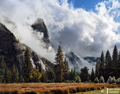 Sentinel Rock (James L. Snyder) Tags: california park autumn trees usa mountain painterly storm fall wet field grass rain rock horizontal fog wall clouds forest spectacular nationalpark october afternoon veiled foggy meadow dramatic grand stormy cliffs sierra glorious evergreen pines valley yosemite cumulus mysterious rainstorm translucent late redwoods yosemitenationalpark fading soaring dreamlike sierranevada vanishing puffy monolith 2009 dripping ephemeral looming breathtaking steamy magnificent shrouded enchanted clearing towering humid yosemitevalley lofty monumental clinging spectacle grandeur disappearing mariposacounty sentinelrock vaporous cooksmeadow unionpoint profilecliff