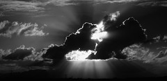 Rays over Table Mountain (WelshPixie) Tags: sky blackandwhite sun silhouette clouds skyscape landscape dramatic greyscale