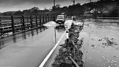 Here we go again ! (Neil. Moralee) Tags: road uk england water car rain fence lumix drive flooding driving underwater destruction debris neil panasonic devon land splash submerged landrover discovery floods froth churning lx7 hemyock moralee