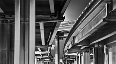 test of time (pbo31) Tags: somisspo sanfrancisco california nikon d700 december 2012 northerncalifornia night dark blackandwhite bw gray soma 101 centralexpressway steel highway ramp interchange city