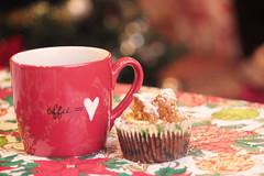 Christmas Angel Cupcakes and Coffee (Sarah Wielgosz) Tags: christmas xmas morning red food hot green cup coffee cake angel butterfly dessert cupcakes wings sweet bokeh beverage cupcake snack mug icingsugar carrotcake angelwings