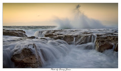 Sunrise - Newcastle Beach - 27-12-2012_0097-Framed (DoctorJ73) Tags: sun beach wet water rock sunrise canon newcastle eos james sand wave wash 7d danny sundance