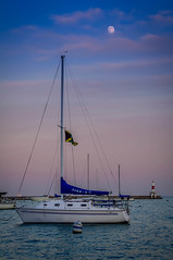 Moonshine Ship (rseidel3) Tags: sunset moon lake chicago water ship lakemichigan bluehour lightroom
