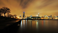 South Loop, Chicago (Seth Oliver Photographic Art) Tags: nightphotography chicago reflections landscapes illinois nikon midwest nightlights skyscrapers searstower lakes cities cityscapes lakemichigan nightshots southloop pinoy nightscapes sheddaquarium circularpolarizer urbanscapes lightpollution secondcity adlerplanetarium windycity longexposures starbursts chicagoist d90 nightexposures wetreflections cityofbigshoulders sweepingclouds willistower setholiver1 tripodmountedshot remotetriggeredshot 1024mmtamronuwalens