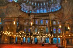 Inside the Blue Mosque - Sultan Ahmed Mosque - Istanbul Turkey (mbell1975) Tags: blue architecture turkey europe minaret trkiye istanbul mosque trkei dome inside sultan ottoman ahmed turkish minarets islamic sultanahmet trk camii 1609