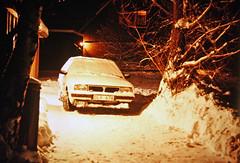SAAB-Lancia 600 in the snow (vetaturfumare - thanks for 3 MILLION views!!!) Tags: saablancia 600 saab lancia delta sweden snow night shoveling parked garage tree snö dly678