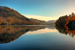 Ullswater Reflections (Andy Watson1) Tags: park uk travel november blue autumn trees england sky cloud lake holiday snow mountains colour tree water clouds canon reflections britain district united great sigma kingdom symmetry snowcapped national cumbria lakeland freshwater ullswater cumbrian 450d