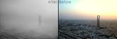 Foggy Riyadh Before&After (FaisalGraphic) Tags: blackandwhite bw white black fog blackwhite foggy riyadh faisal   alghamdi faisalgraphic  faisalalghamdi riyadhfoggy