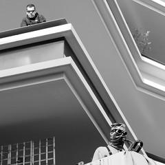 Opposition (tommpouce) Tags: portrait blackandwhite sunglasses mask balcony saxophone marseilleprovence2013