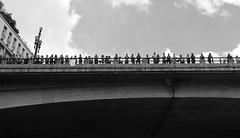 What are you staring at? (Jessica Botelho.) Tags: bridge cidade brazil sky people blackandwhite canon photography poste cityscape sopaulo picture cu ponte fotografia pretoebranco jssicabotelho