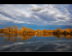 Sheep River Late Autumn Afternoon (LostMyHeadache: Absolutely Free *) Tags: autumn trees houses sky fall nature water clouds canon reflections river pond overcast land davidsmith sheepriver topshots calgaryalbertacanada panoramafotogrfico eos60d theoriginalgoldseal flickrsportal sheeprivercampground vigilantphotographersunite