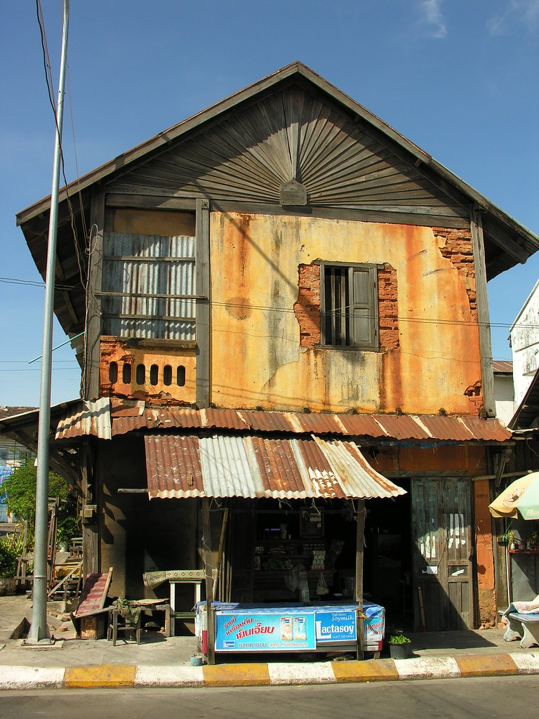 Run down colonial period building, Savannakhet, Southern Laos