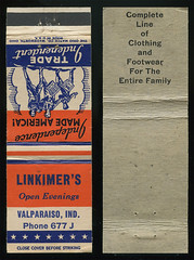 Linkimer's, Valparaiso, Indiana - Matchcover (Shook Photos) Tags: promotion advertising valparaiso clothing colonial indiana smoking advertisement footwear match matches promotional matchbooks matchbook portercounty matchcover valparaisoindiana linkimers mathcovers