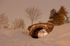 Little Bridge (Kirill Bannov Photography) Tags: park old bridge trees winter snow nature stone night landscape lights russia decorative masonry scenic ru hdr chelyabinsk  3xp  74ru 174ru