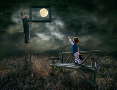 Look Grandad you have caught the moon for me. (Cutter55) Tags: grandad grandson concept conceptual ladders field moon