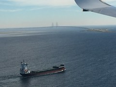 Scandinavia From The Air  - Oresund Bridge - Oresund Strait - Denmark / Sweden (firehouse.ie) Tags: water e20 funen zealand strait oresundbridge oresund scandinavia europe sea ship road railway kobenhavn copenhagen malmo crossing border denmark sweden bridge