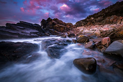 Hovs Hallar (Arvid Bjrkqvist) Tags: blue pink purple evening sunset water ocean longexposure hovshallar sweden low rocks cliffs coast colors vivid stones clouds