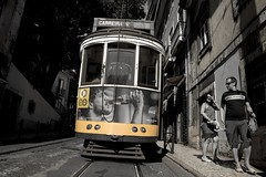 I  Lisbon (katalan46) Tags: tranvia trolleycar car trolley street calle urban urbano blancoynegro blackandwhite bnw splash colorsplash capital portugal lisboa lisbon typical tipoco tourist travel viaje summer verano carreira yellow amarillo cocacola color
