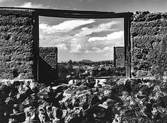 The Old Homestead (LXG_Photos) Tags: 645 645e rolleiretro80s southwest analog bw film monochrome desert abandoned frame sky