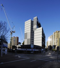 Parramatta Building (phillipdumoulin) Tags: building infrastructure city builtenvironment parramatta granvile nsw australia sydney crane macquariestreet sun sunreflection glass steel bitumen highrise business apartments