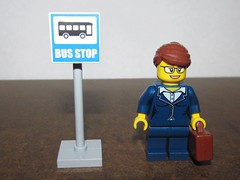 LEGO Business Woman at Bus Stop (Pest15) Tags: nationalbusinesswomensday legominifigure lego businesswoman minifigure briefcase busstop commuter