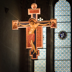 Old medieval wood crucifix from the 1271 by artist Cimabue. (franco nadalin) Tags: antique catholic christ christian christianity church cross crucifix crucifixion easter holy hope jesus religion sacred spiritual spirituality symbol wood wooden