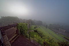 misty morning light (scottprice16) Tags: england clitheroe lancashire clitheroecastle morning autumn september mist dull light bandstand gate path sonya7s voigtlander 10mmf56 hyperwide
