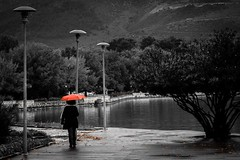 Autumnus (teogou) Tags: blackandwhitephotography blackandwhite bnwphotography bnw lake pamvotis rain umbrella autumn greece epirus ioannina
