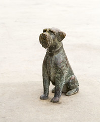 Taken in Mahon, Mao, Menorca ; life-size statue of terrier dog, cast in bronze and sitting in the middle of one of the towns attractions. (areavie@gmail.com) Tags: metal cast statue bronze dog terrier mahon menorca minorca lifesize spain
