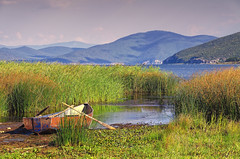 Last Boat To The Misty Mountains (Alfred Grupstra Photography (bussy until 30 octobe) Tags: boat lakeprespa clouds lake landscape mountains water qarkuikors albani al
