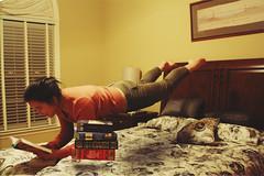 Kafka on the Shore (lifeofanobsoletegirl) Tags: girl photography reading levitation books teen murakami kafka edit