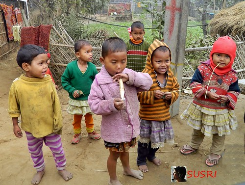 Village Children in cold winter morning
