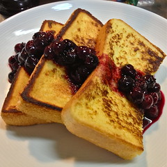 Second Day of Christmas: Breakfast for Dinner! French Toast and Homemade Blueberry Compote (only1tanuki) Tags: japan frenchtoast squareformat  iphone breakfastfordinner seconddayofchristmas shizuokaprefecture     shizuokacity  blueberrycompote  shimizuward homemadeblueberrycompote