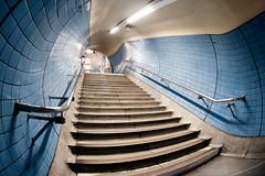 Blue, The Color Suits You (Sean Batten) Tags: city uk blue england urban london stairs underground subway lights nikon cityscape tube rail tunnel fisheye tiles londonunderground embankment d90