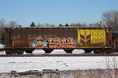 Hbak (The Braindead) Tags: street art minnesota train bench photography graffiti painted tracks minneapolis twin rail canadian explore beyond pinocchio hopper the braindead cites hbak