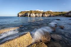 Thornwick Bay (in the sun) (47mki) Tags: cliff sun seascape coast rocks surf day yorkshire canon5d cave seashore bridlington flamborough yorkshirecoast eastyorkscoast pwpartlycloudy